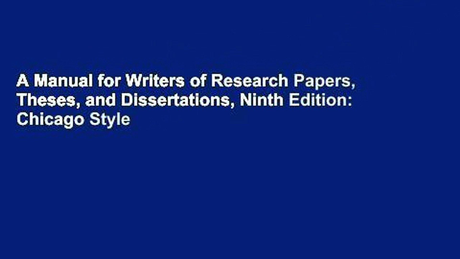 028 Manual For Writers Of Researchs Theses And Dissertations X1080 V4x Sensational A Research Papers Ed. 8 Turabian Ninth Edition Full