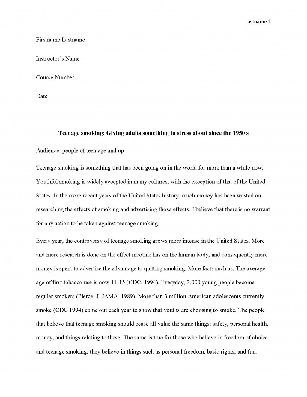 029 Research Paper Teen Smoking Free Sample Page 1 Fun Argumentative Frightening Topics Large