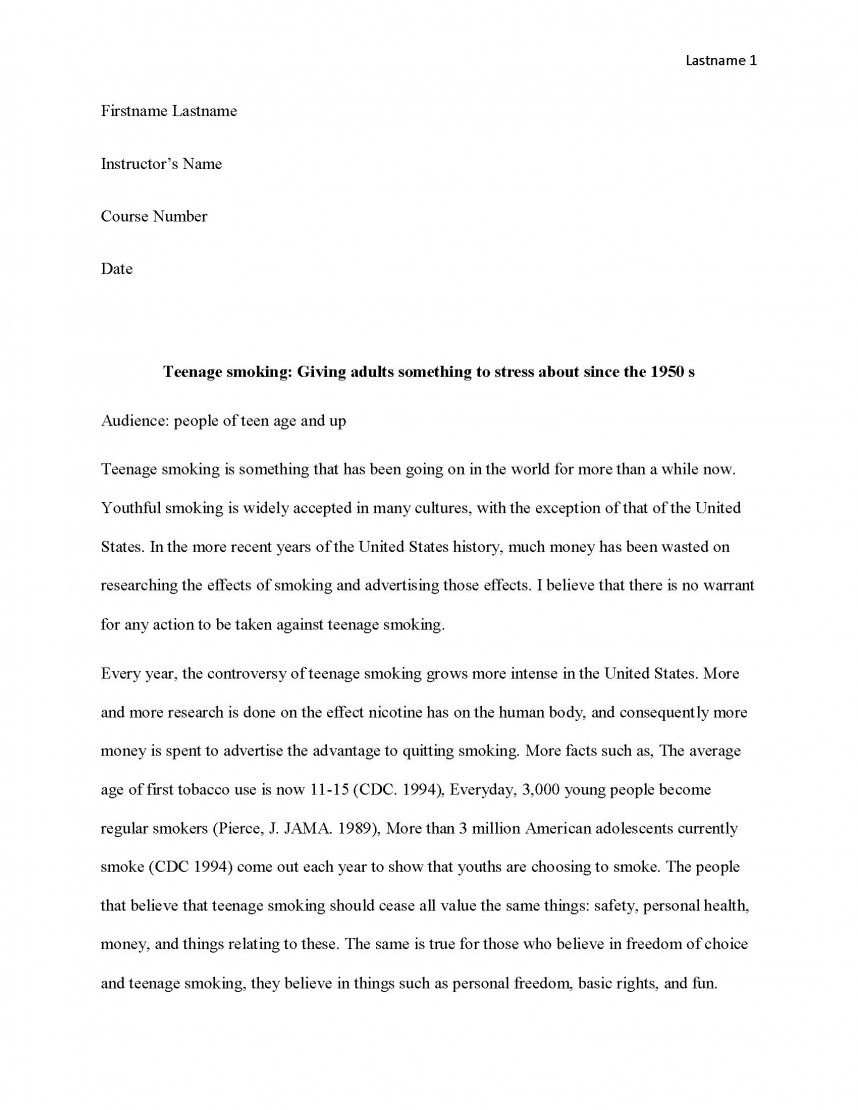 029 Research Paper Teen Smoking Free Sample Page 1 Fun Argumentative Frightening Topics